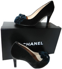 CHANEL Camelia Pump Heel Velvet Charcoal Green-Blue Baroque Shoe 37.5- 7 New