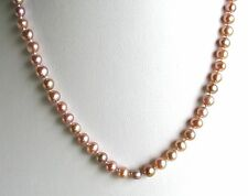 """14k YG 5mm Pink Cultured FW Pearl Necklace w/Fish Hook Clasp~~18""""~~Free Ship!"""