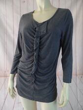 Talbots Top M Gray Heather Stretch Knit Rayon Blend Pullover Ruffle Front Chic