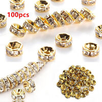 100X Crystal Rhinestone Silver Gold Rondelle Spacer Beads Charm Finding 6MM 8mm