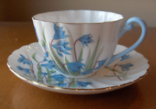 Shelley China England HTF Scilla cup and saucer set~Ludlow shape~Blue flowers-NR