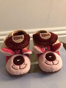 bnib MIRAK BABY SLIPPERS HOOK & LOOP FASTENING UK INFANT 3 18 PINK STURDY SOLES
