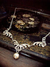 Vintage Marcasite and Pearl Drop  Necklace
