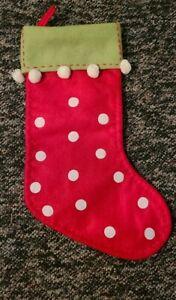 "Red Felt CHRISTMAS STOCKING White Polka Dots Green Cuff White Pom Poms 20"" Lined"