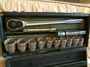 "Craftsman 16pc. 3/4"" Drive Socket Set - Boxed - USA - Vintage Socket Set"