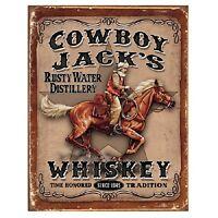 Cowboy Jack's Whiskey Weatthered Retro Bar Pub Wall Decor Metal Tin Sign New
