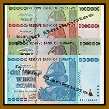 Zimbabwe 10 20 50 100 Trillion Dollars Set, 2008 AA Unc