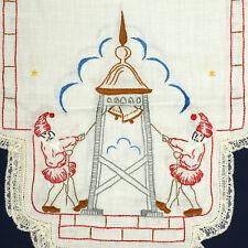 Christmas Nisse Elves Ringing Bell Tower Handmade Embroidery Scandinavian Europe