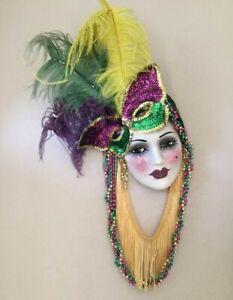 Unique Creations Elegant Ceramic Face Mask, Wall Hanging Decor