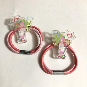 Gymboree Summer Island Hair Tie Ponytail Holder Vintage Pink Accessory Tropical