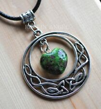 Antique Silver Plt Celtic Pendant Ruby Zoisite Heart Necklace Ladies GIft Reiki
