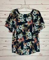 LOFT Women's S Small Navy Floral Ruffle Short Sleeve Cute Spring Top Blouse
