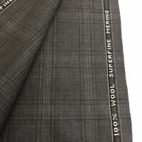 3.5 Metres Grey Checked Superfine Merino 100% Wool Suit Fabric. Made In England