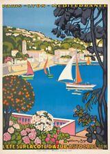 COTE D'AZUR AUTOCARS P.L.M French Travel Poster 250gsm A3 Art Deco Print