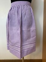 Handmade Purple & White Checkered Gingham Apron w/Pocket Hand Stitched Vintage