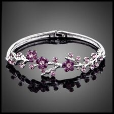DF101 Handmade With Swarovski Crystals Purple Flower Vine Bracelet $86