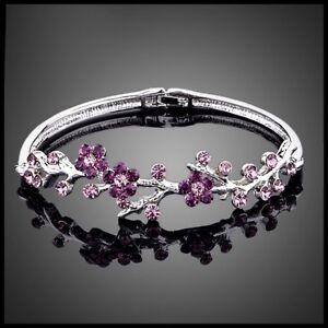 Made Using Swarovski Crystals Purple Flower Vine Bracelet $86 S6