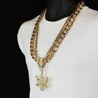 """14k Gold Plated Weed Marijuana Fully Cz Pendant Two 30"""" Hip Hop Cuban Chain Link"""