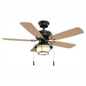 Hampton Bay North Shoreline 46 in. LED Indoor/Outdoor Natural Iron Ceiling Fan