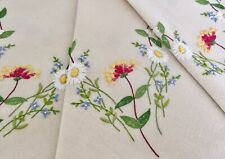 More details for vintage hand embroidered linen tablecloth daisies honeysuckle & forget me nots