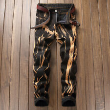 Men's Skinny Jeans Fire Printed Slim Jeans Denim Biker Jeans Hip-hop CHIC Pants