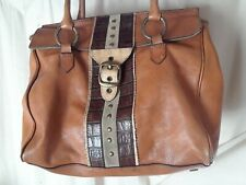 Large Adrienne Vittadini Brown Leather Handbag Carry All Purse Bag with Buckle