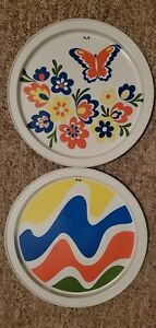 MCM Butterfly + Primary Colors Tin Art Serving Tray or Wall Decor Vintage 1960's