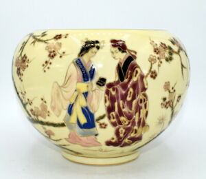 ZSOLNAY PECS UNIQUE PIECE BY MISS M SZALONTAY VASE PAINTED CHINESE FIGURES 1920c
