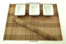 6 fatto a mano in legno di bambù Tovagliette Tavolo Stuoie, Nero-Marrone, P009