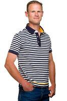 Ugholin Polo Marinière Jersey Coton  Manches Courtes Blanc Bleu Homme