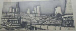 Signed Renzo Vespignani (1924-2001) drawing Power Plant at Larderello Italy