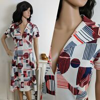 Vintage 60s 70s Navy Red Circle Abstract Midi A line Dress Mod 12 14 40