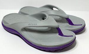 Crocs Sandals Flip Flop Shoe Unisex Men's 8 Women's 10 Gray And Purple