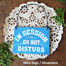 DECO Mini Wood Sign IN SESSION Do Not Disturb Blue Fits over Doorknob New USA