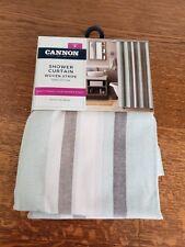 Cannon Fabric Shower Curtain Woven Stripe 100% Cotton 70x72 Green/Brown/White