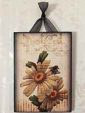 Vintage Daisy Bee Floral Postcard Plaque Wall Decor Sign French Country