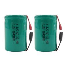 2PCS 4/5 Sub C 1600mAh 1.2V Ni-MH Rechargeable Battery Tabs Green 22.2x34.32mm