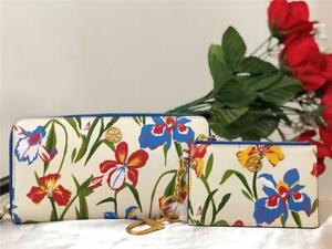 NWT Tory Burch Floral Zip Continental Wallet and Card Case in Painted Iris SET