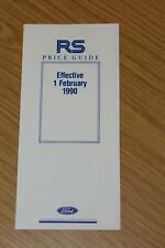 Ford Rallye Sport Price Guide Sheet 1990