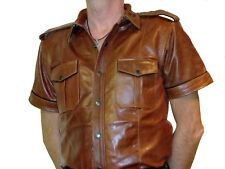 leather shirt new middle brown leather shirt Police style Lederhemd braun