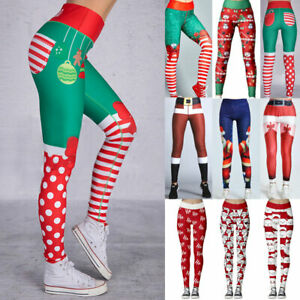 Womens Christmas Leggings Workout Yoga Pants Xmas Party Stretchy Fitness Trouser