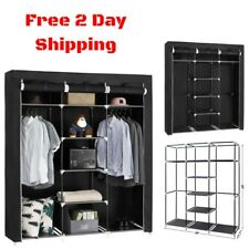 Portable Clothes Closet Wardrobe Bedroom Storage Organizer Durable Armoire  Black