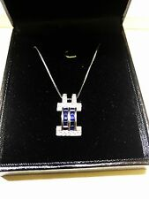 Gorgeous Necklace 14K White Gold Natural Diamond & Sapphire