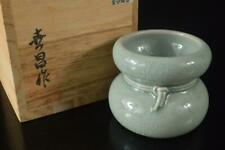 Z8646: Korean Goryeo celadon Gourd-shaped LID REST/Stand, auto w/signed box