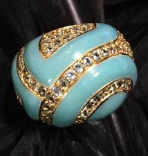 MASSIVE ESTATE STERLING SILVER VERMEIL BLUE ENAMEL TOPAZ BAND RING SIZE 7.75