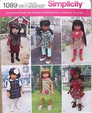"18"" GIRL DOLL CLOTHES Simplicity Sewing Pattern 1089 American Made NEW Uncut"