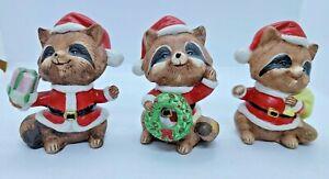 Set of 3 Homco 5611 Christmas Santa Racoon Figurines Gifts Wreath Claus CUTE!