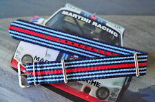 22mm Porsche / BMW Martini Racing Colors Strap for Big Watch Band 316 Steel