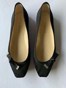 Emporio Armarni Black Satin ballet shoes - size 38