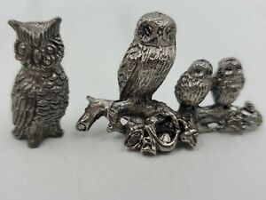 Dollhouse Miniature Silver Metal 3 Owls on a Branch & 1 Owl Figurine Vintage